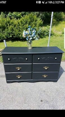 Great Condition Refinished Black Dresser Solid Heavy Wood