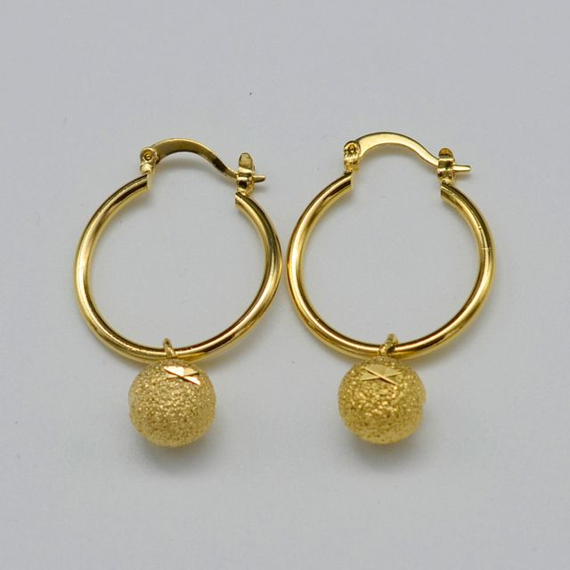 Gold Earrings for Wome - Gold Plated Jewelry Bead Earring Girl,Round Ball Earrings Ethiopian Africa,Arabia,Middle East Jewelry