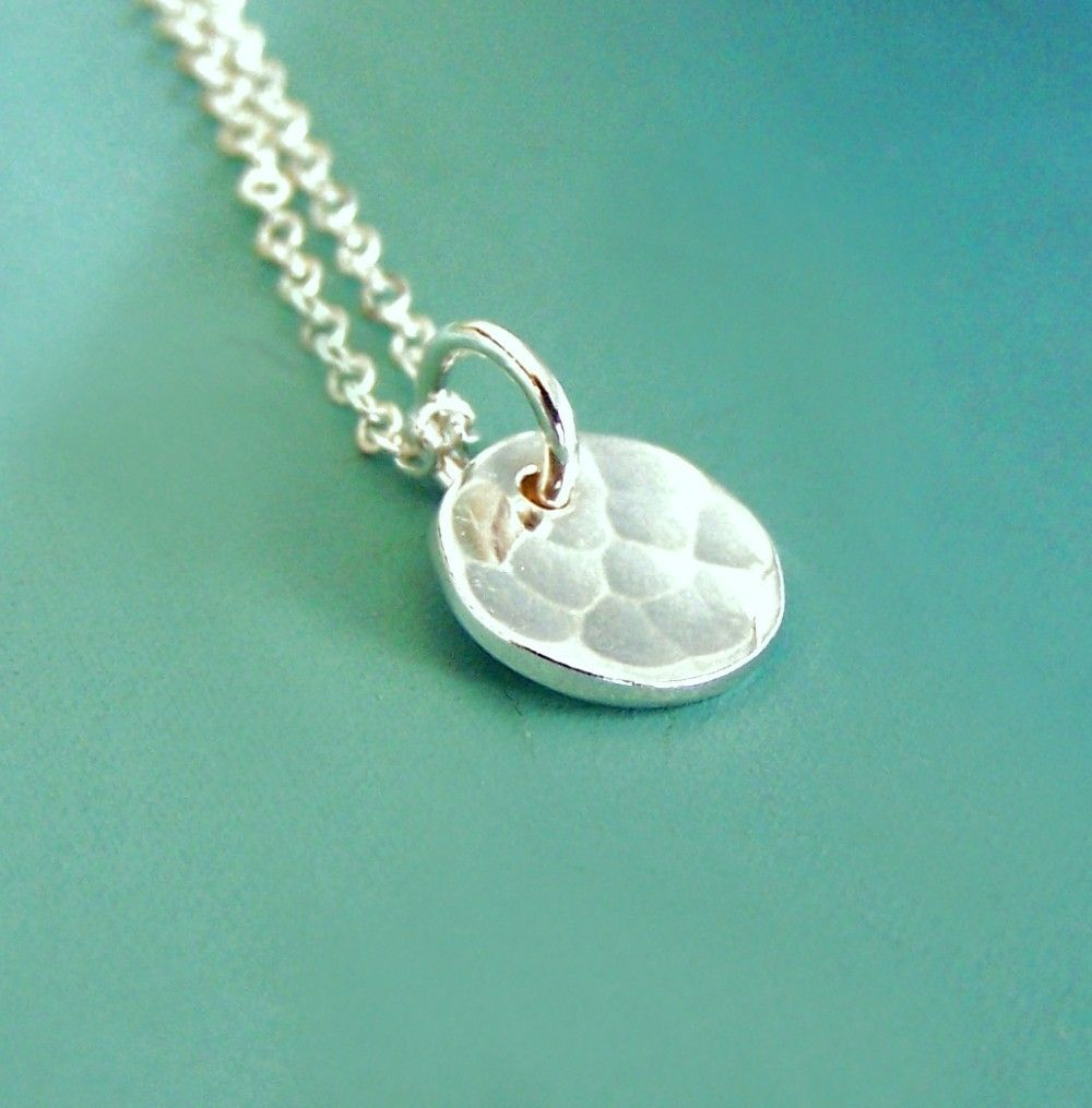 Sterling silver necklace tiny hand hammered pool last minute