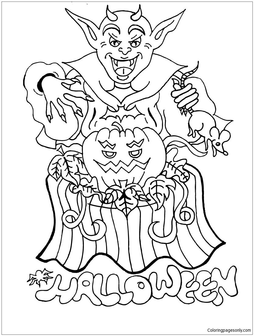 Happy Halloween 3 Coloring Page Scary Halloween Coloring Pages Halloween Coloring Sheets Monster Coloring Pages