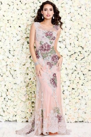 Peach Body-Hugging Sleeveless Gown With Contrasting Florals 4092