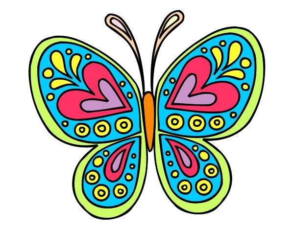 Dibujo mandala mariposa pintado por eliana 02 mariposas for Dibujos infantiles pintados