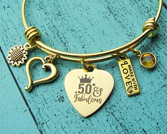50th birthday gift for women bracelet,  50 and Fabulous, 50th birthday jewelry for her Mom Sister, Happy 50th birthday, Gold charm bracelet #moms50thbirthday