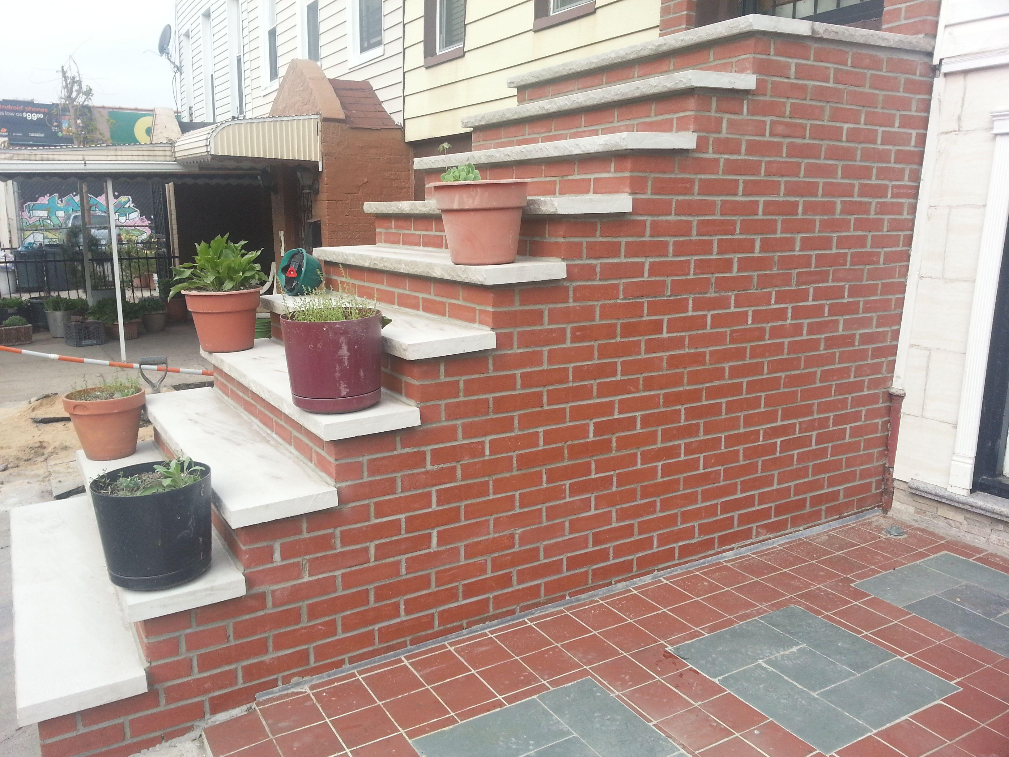 Bluestone steps with brick tags brick and limestone for Bluestone front porch
