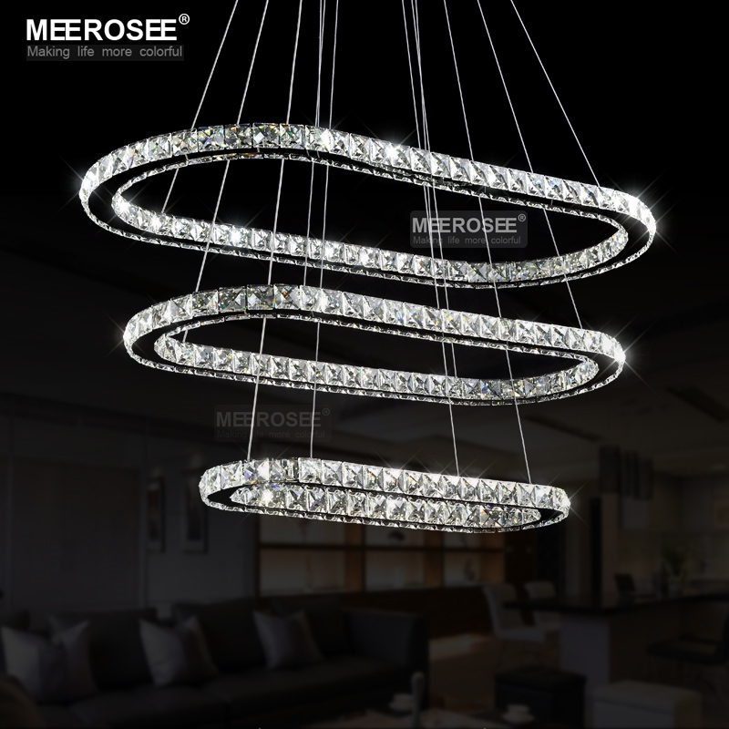 93.50$  Buy here - http://alif64.worldwells.pw/go.php?t=32613412916 - Contemporary LED Crystal Light Fixtures Oval Stainless Steel Pendant Drop Lamps led Room Decorative Silver Pendant Lighting 93.50$