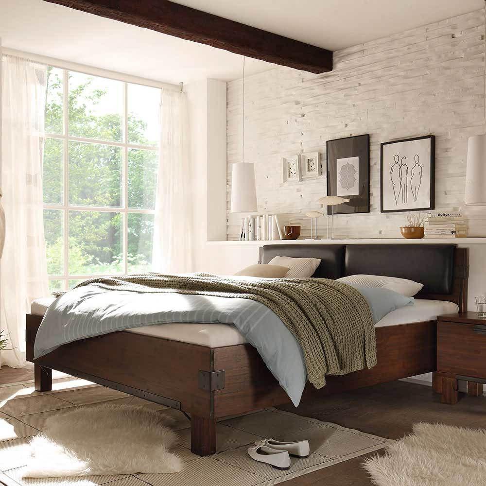 Bett mit Polsterkopfteil Braun Akazie massiv