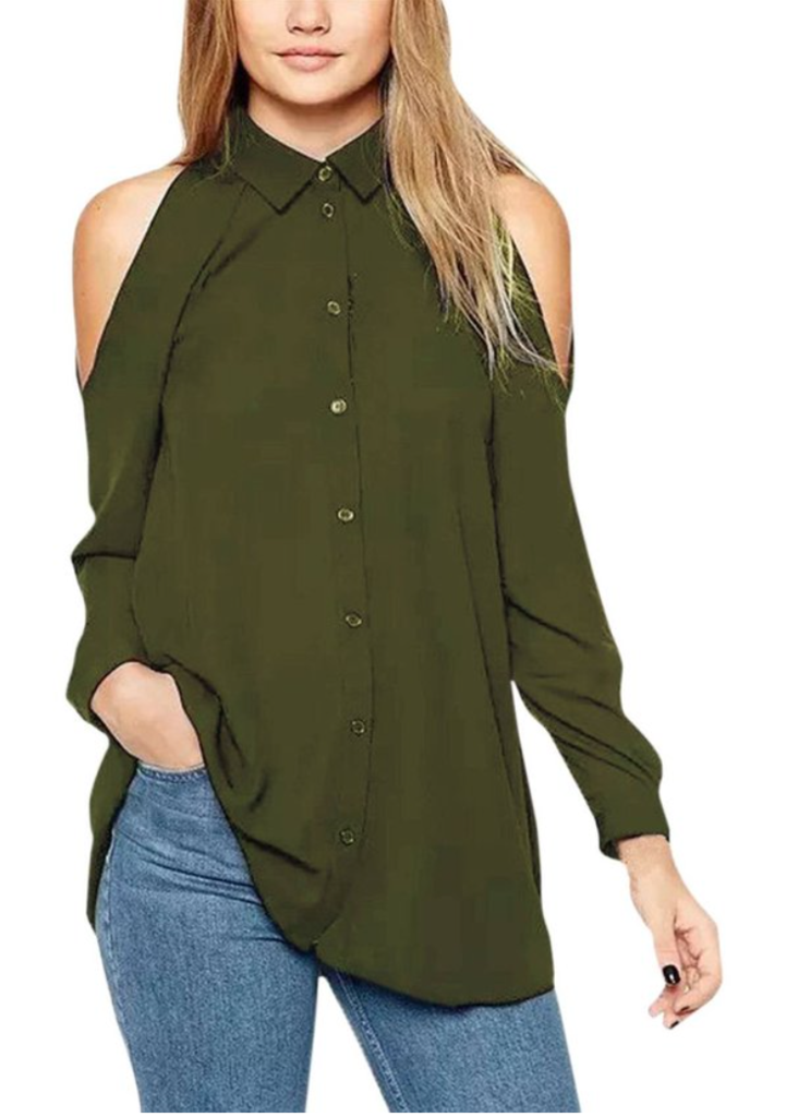 976acdfa Women's Off Shoulder Turn Down Collar Loose Cut Out T-shirt Tops Blouse