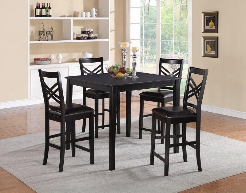 Poundex F2396 1339 5 Pc Bridget Iii Black Finish Wood Counter