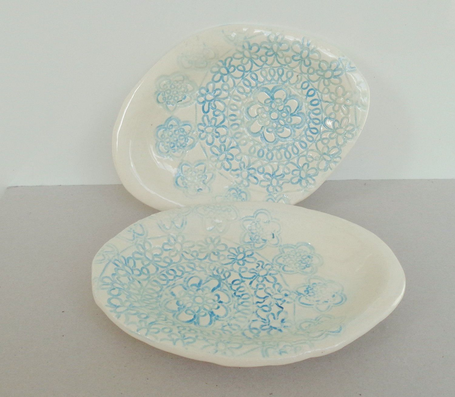 White oval lace textured ceramic plate, stoneware platter