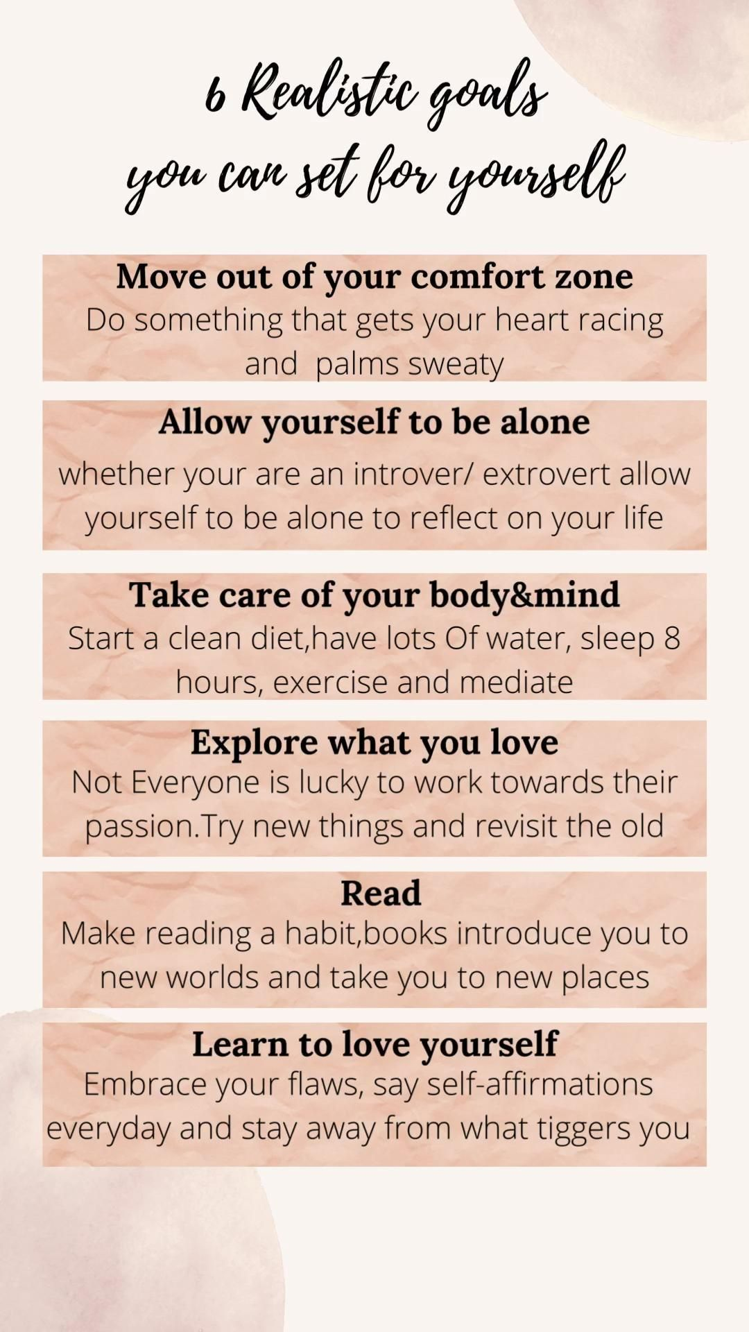 6 realistic goals for you