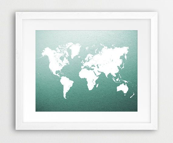 World map print green map print white world map white green art new to bysamantha on etsy travel quote world map print travel nursery art print poster adventure awaits gray gender neutral wanderlust sku usd gumiabroncs Image collections