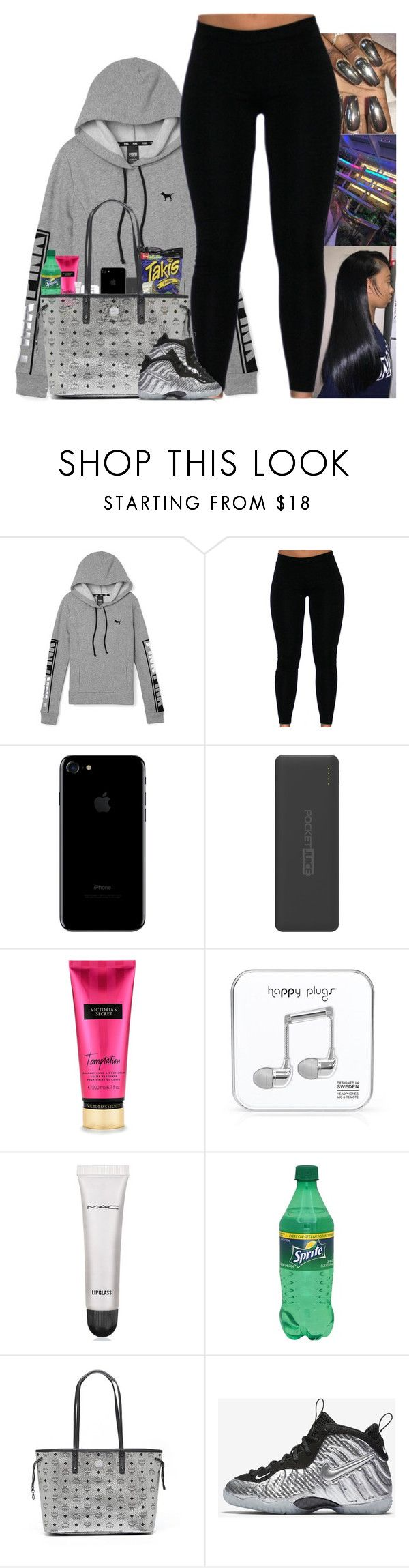 """"""""""" by kennisha84 ❤ liked on Polyvore featuring Fuego, Tzumi, Victoria's Secret, Happy Plugs, MAC Cosmetics, MCM and NIKE"""
