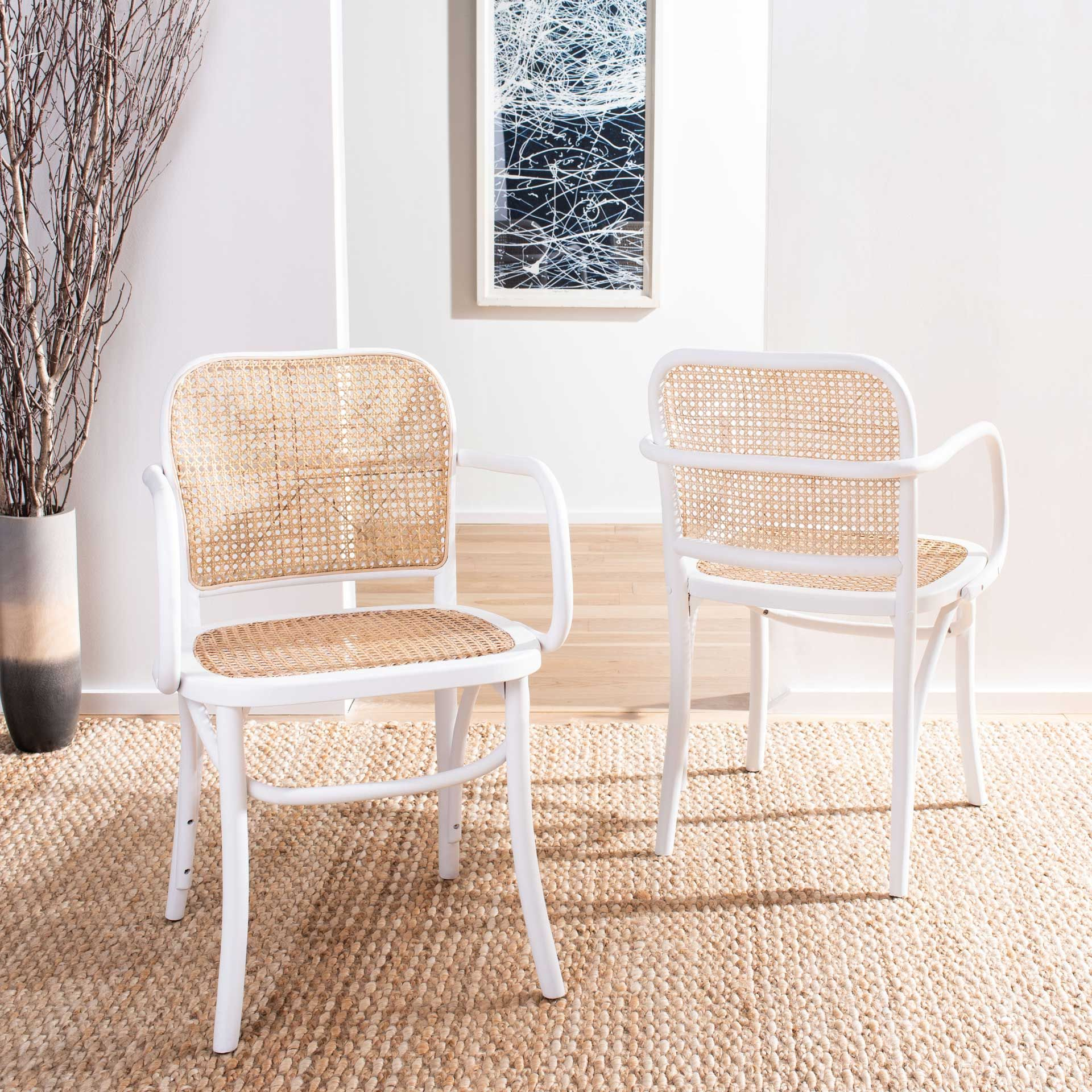 Keanu Cane Dining Chair White Natural Dining Chairs Cane Dining Chair Cane Dining Chairs White and natural kitchen chairs