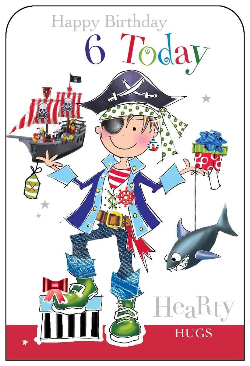 Jonny Javelin Pirate 6 Today Birthday Card Kids Birthday Cards Happy 2nd Birthday Birthday Greetings