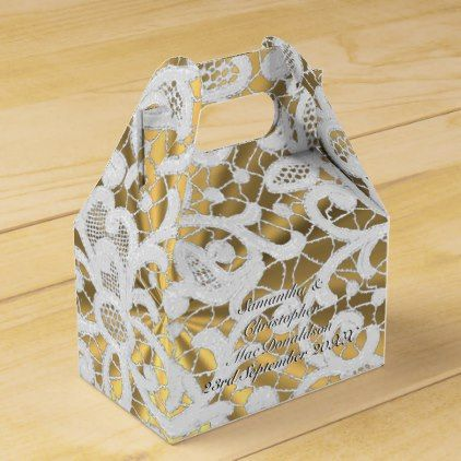 White And Gold Filigree Lace Damask Wedding Favor Box