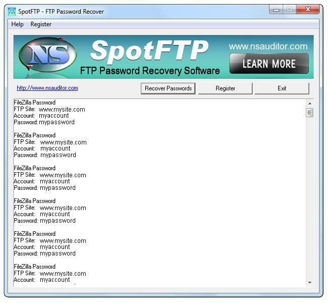 SpotFTP Password Recover 2.4.8 screenshot Expression web