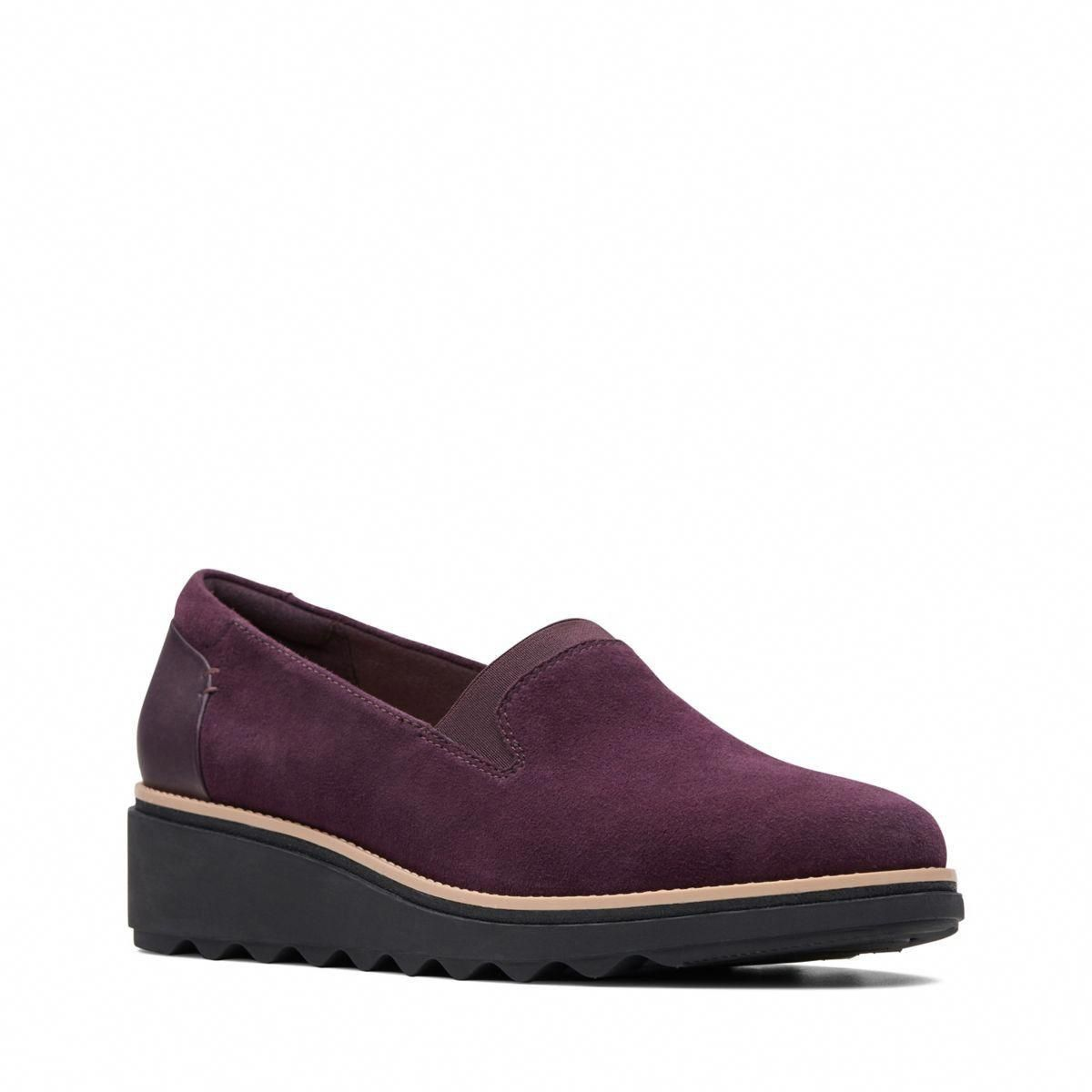 85304e575 Clarks Sharon Dolly - Womens Shoes Aubergine Suede 7.5 E (Wide) Out Of Stock