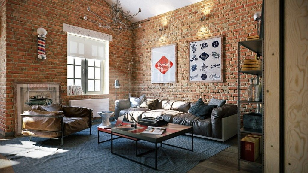 Home Apartment Graphic Wall Art In Industrial Loft With Brick Wall And Soft Industrial Living Room Design Loft Interior Design Interior Design Living Room