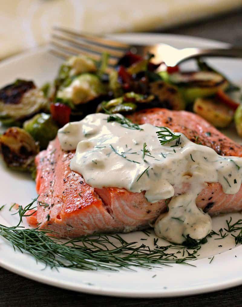 Cucumber Dill Salmon Pan Seared Greek Yogurt Sauce A Gouda Life Recipe Dill Salmon Savory Salmon Recipe Cucumber Dill