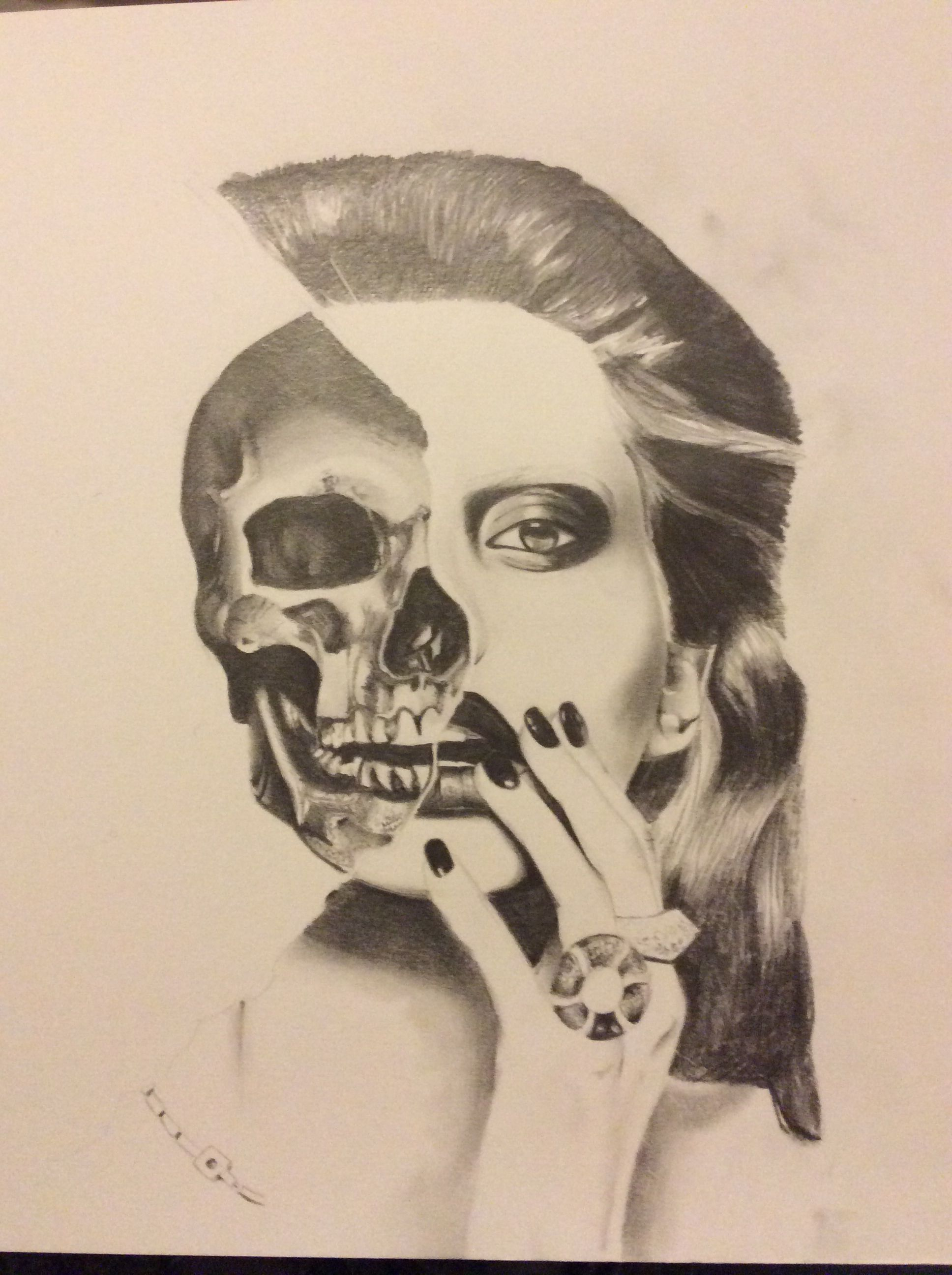 Half Skull Half Face Drawing
