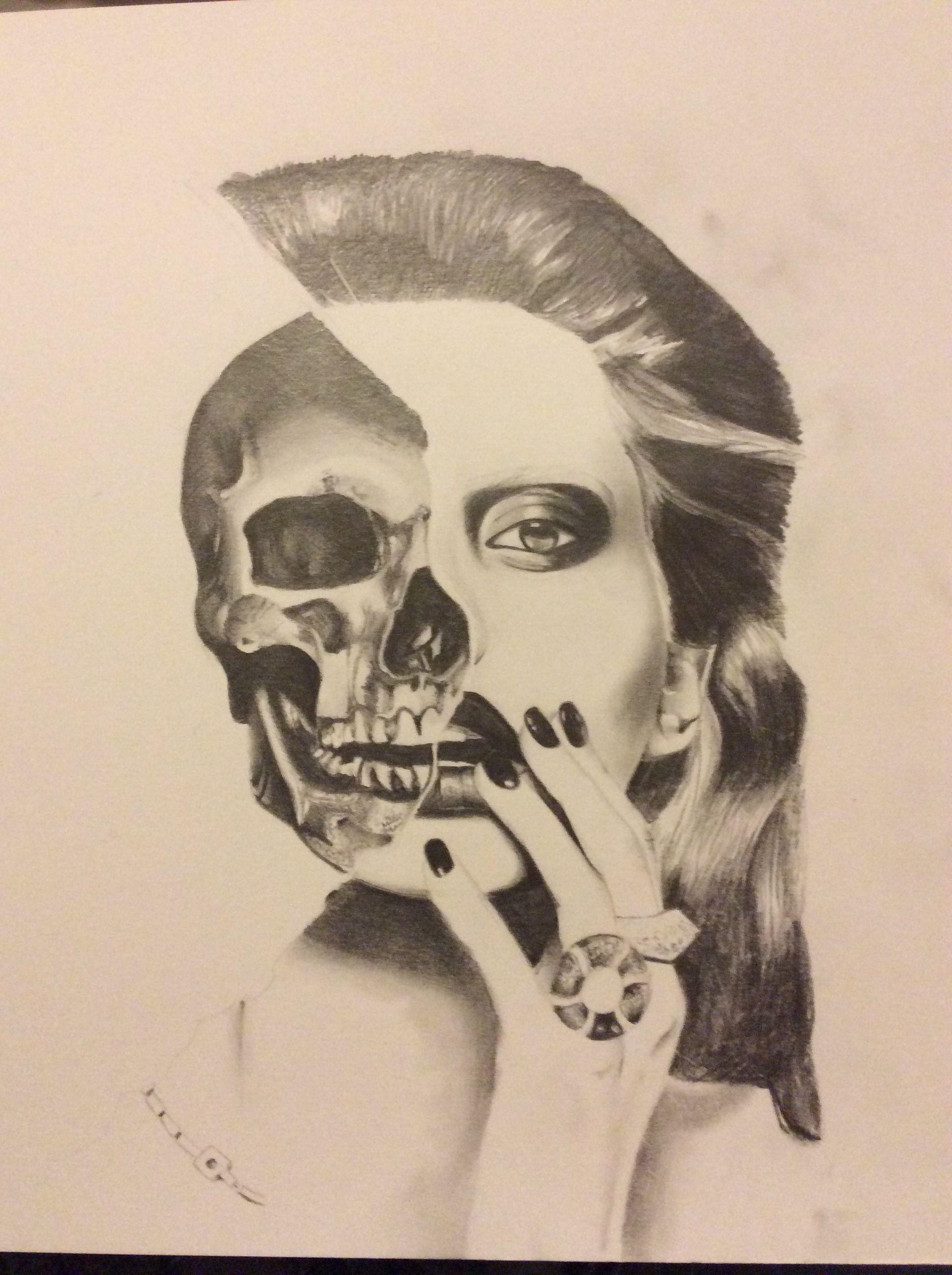 Half Skull Half Face Drawing
