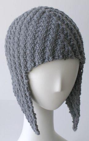 Knitting Pattern For Herringbone Rib Aviator Hat Worsted Weight