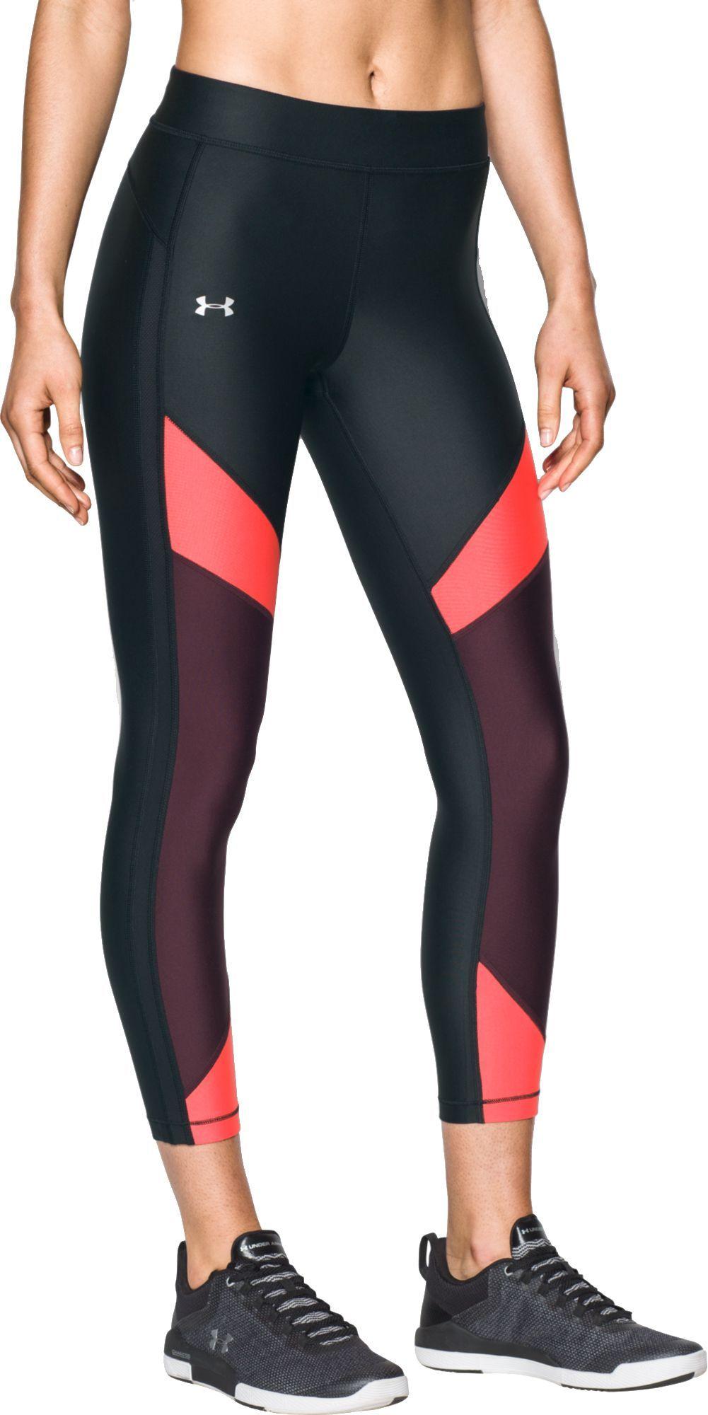 bd8a6cacd3 Under Armour Women's HeatGear Color Block Capris, Size: XL, Black ...