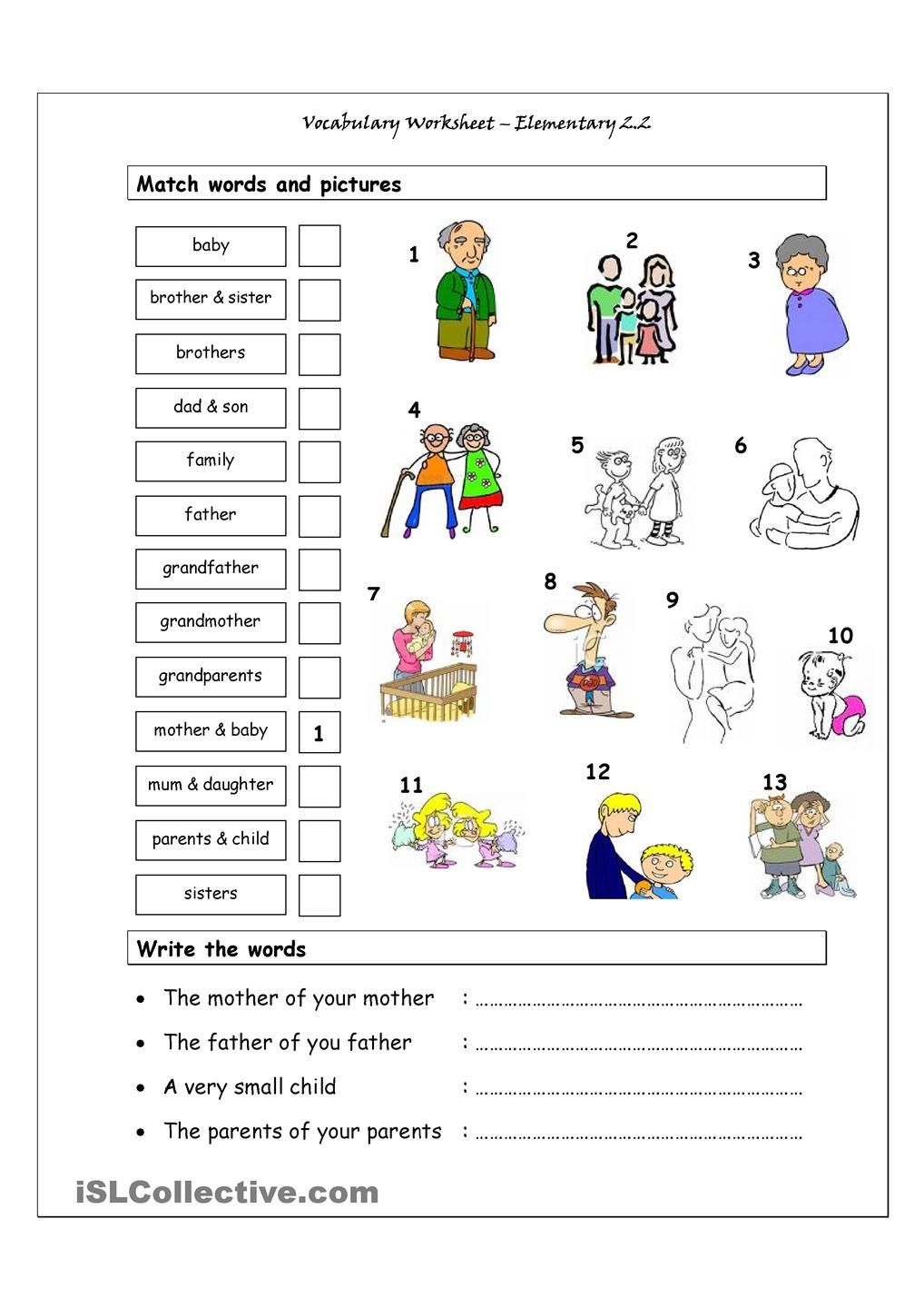 Worksheets Esol Worksheets vocabulary matching worksheet elementary 2 family esol grammar worksheets