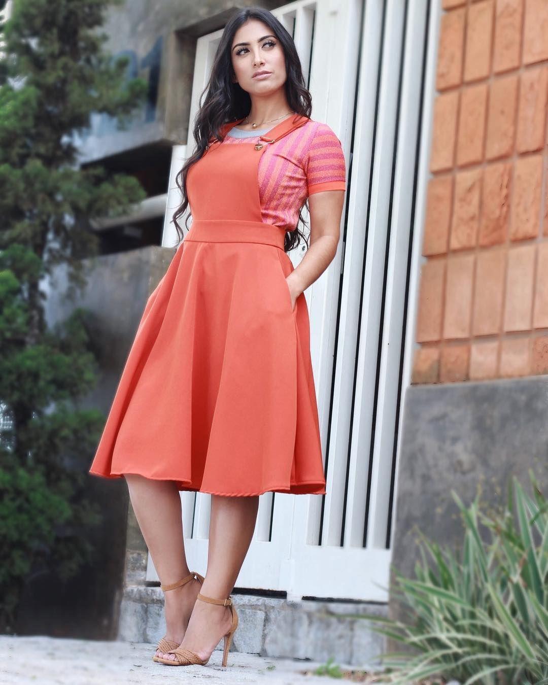 4b29bc9f167e Laranja 💜 Vestidos Para Igreja, Saias Da Moda, Moda Evangelica Feminina,  Roupas De