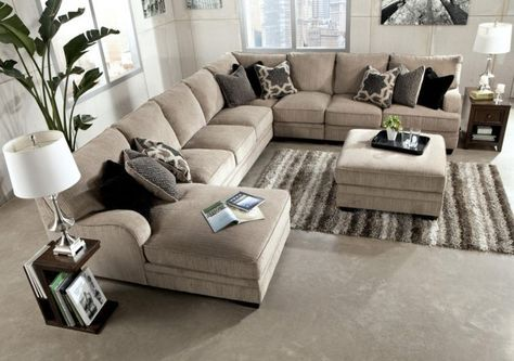 Furniture Cream Upholstered Sectional Sofa With Chaise And