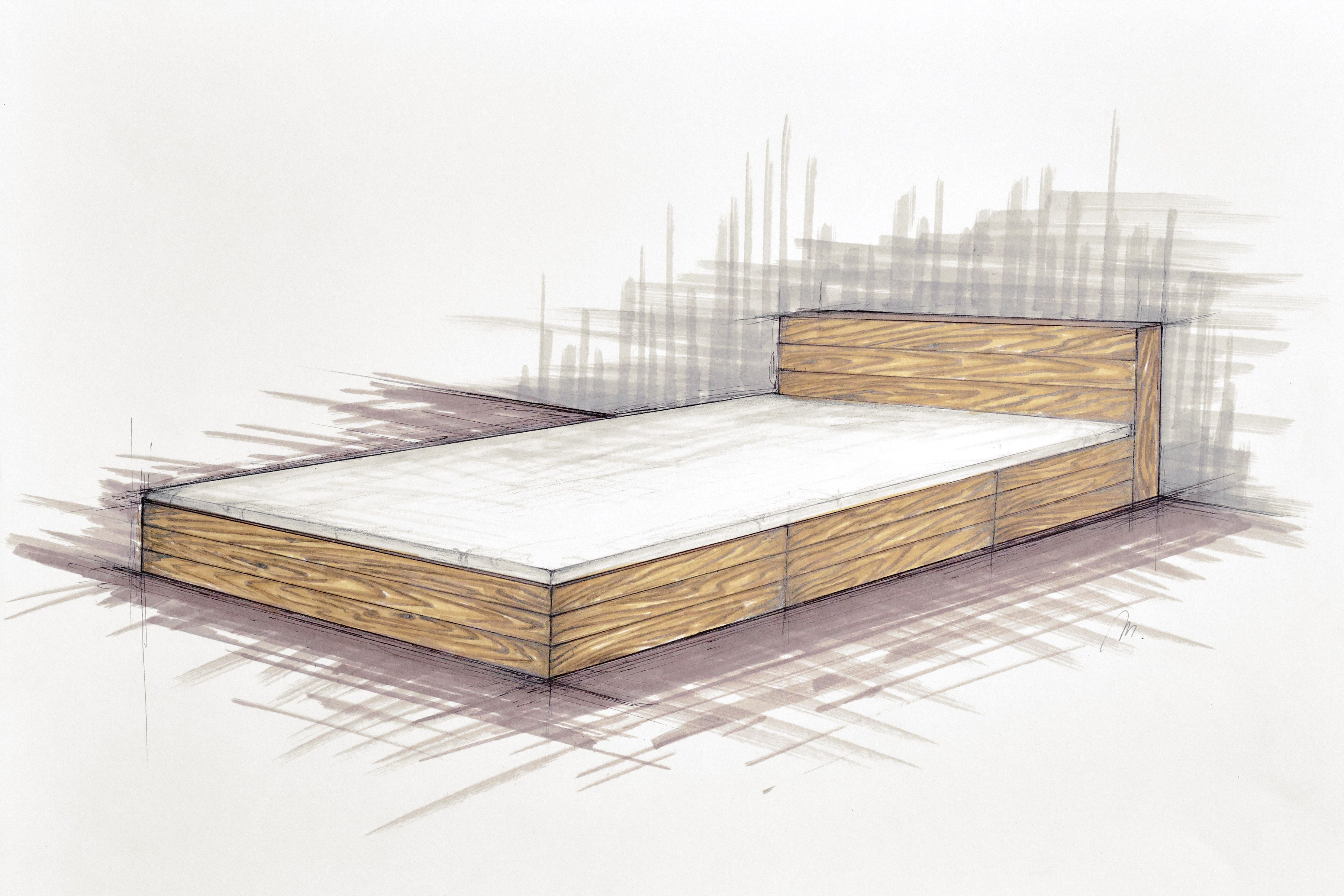 Handcrafted bespoke wooden bed. Old wood. Modern, rustic, simple ...