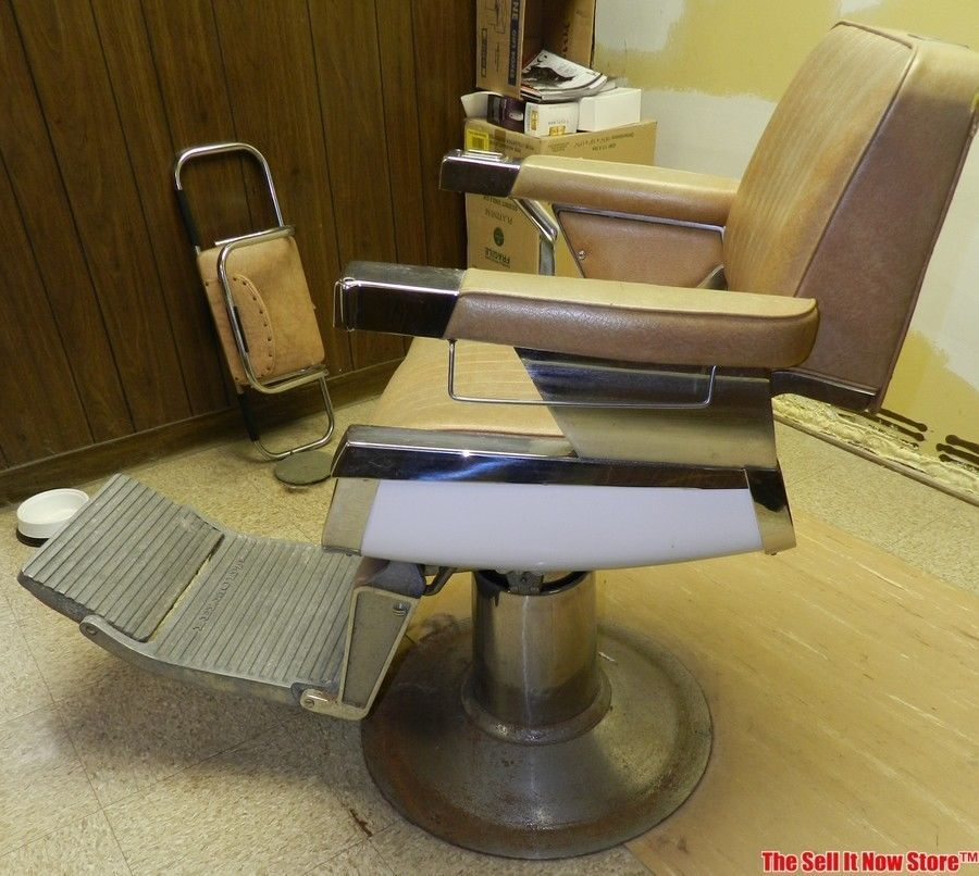 Vintage Belmont Barber Shop Hydraulic Reclining Chair w ...
