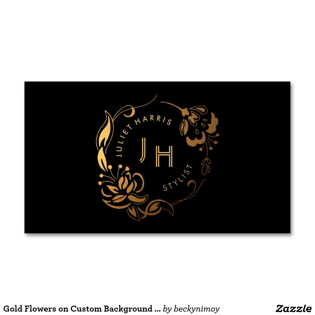 Gold flowers on custom background business card pinterest gold flowers on custom background business card pack of standard business cards reheart Images