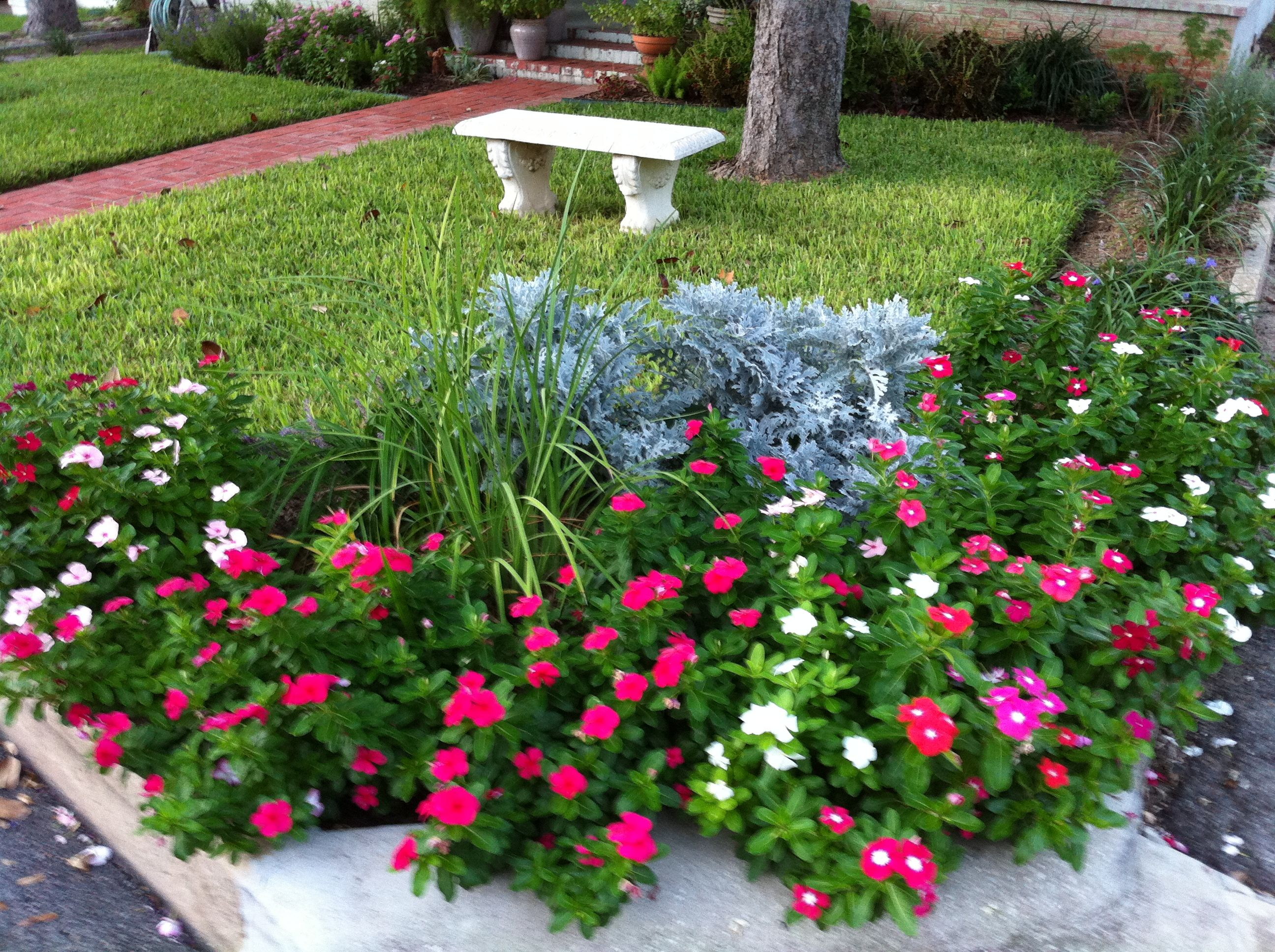Corner Flower Bed By Street And Driveway First Summer
