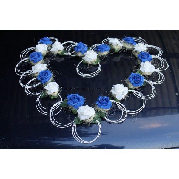 Magnifique décoration voiture de mariage thème cœur bleu et