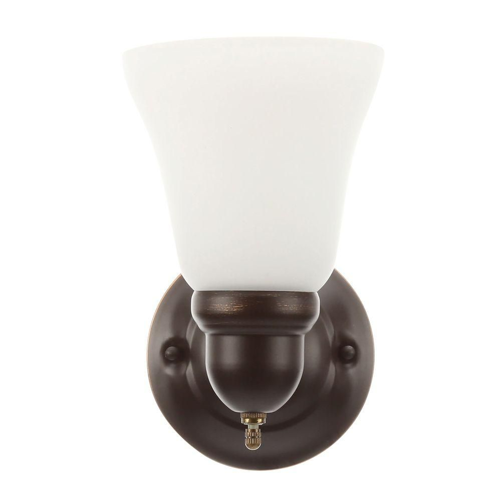 Hampton Bay 1 Light Oil Rubbed Bronze Sconce With Frosted Opal Glass Shade Gay8411a The Home Depot Bronze Sconces Sconces Bronze Wall Sconce