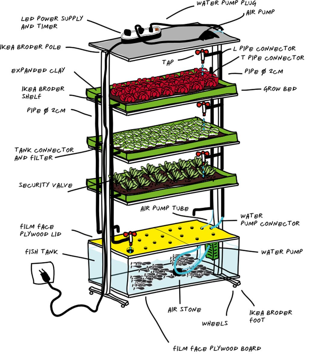 diy ikea shelf inhome aquaponics planted space
