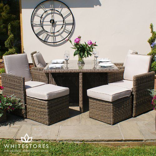 Maze Rattan Winchester Cube Garden Furniture Set With Footstools
