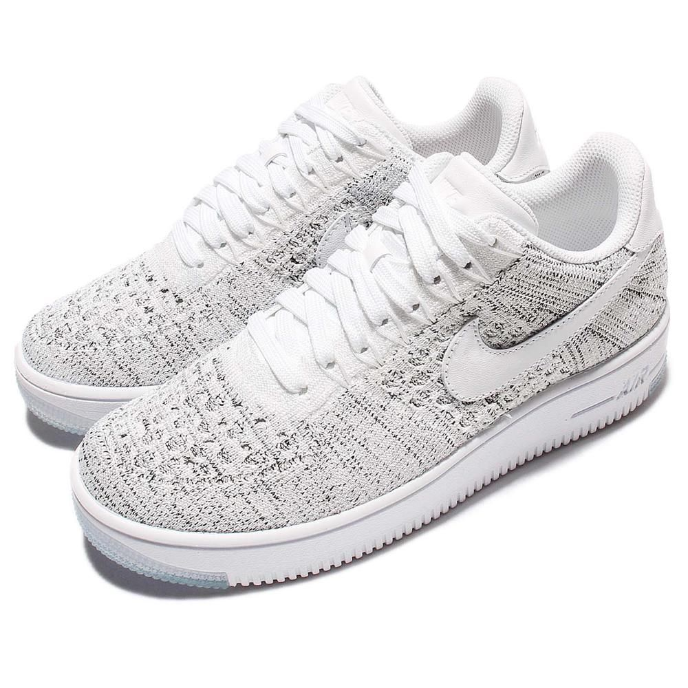 7433363119deda Wmns Nike AF1 Flyknit Low White Grey Classic Air Force 1 Women Shoes 820256- 103