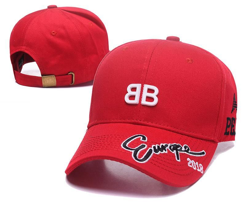 ba39db026f059 Men s   Women s Balenciaga BB Rubber Logo Europe 2018 Curved Dad Hat - Red  (Copy Ori)