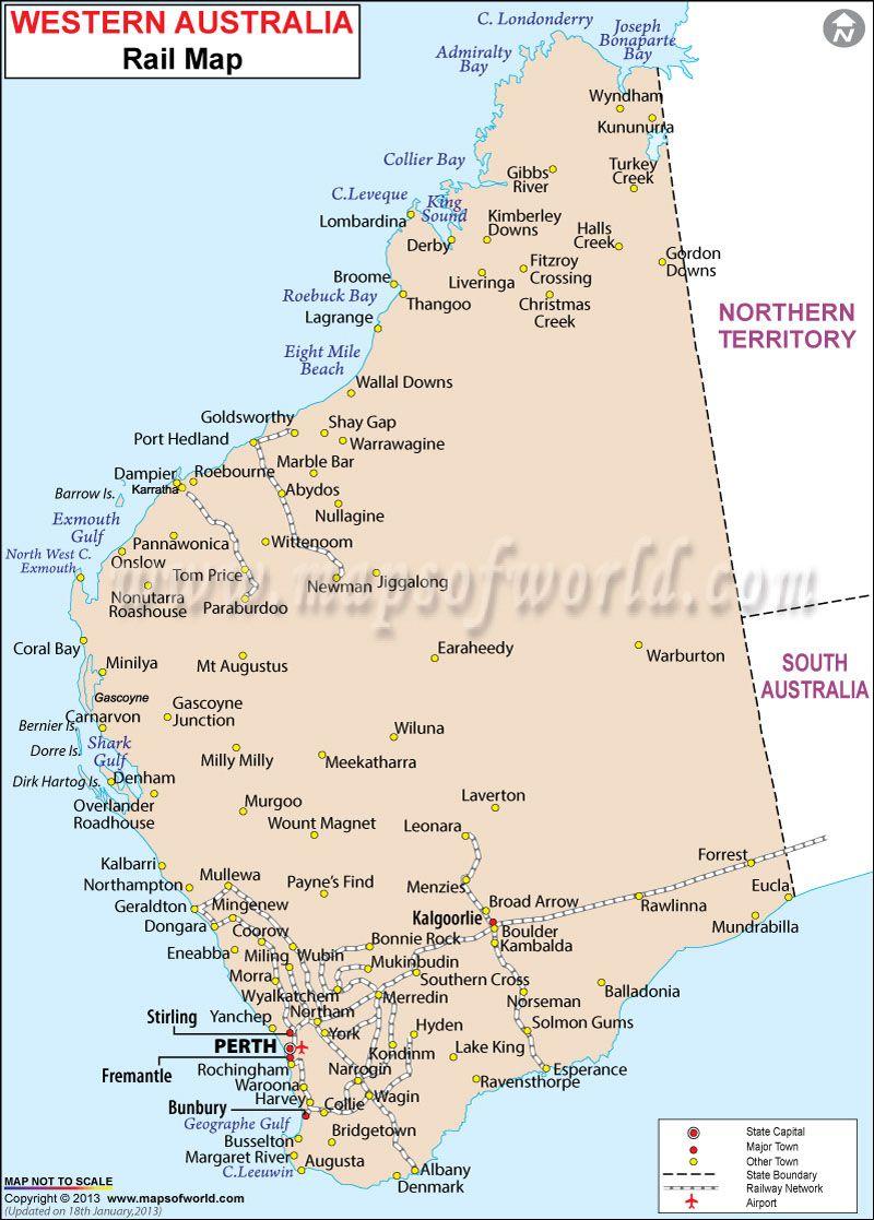 Rail Map Of Western Australia Western Australia Map Western