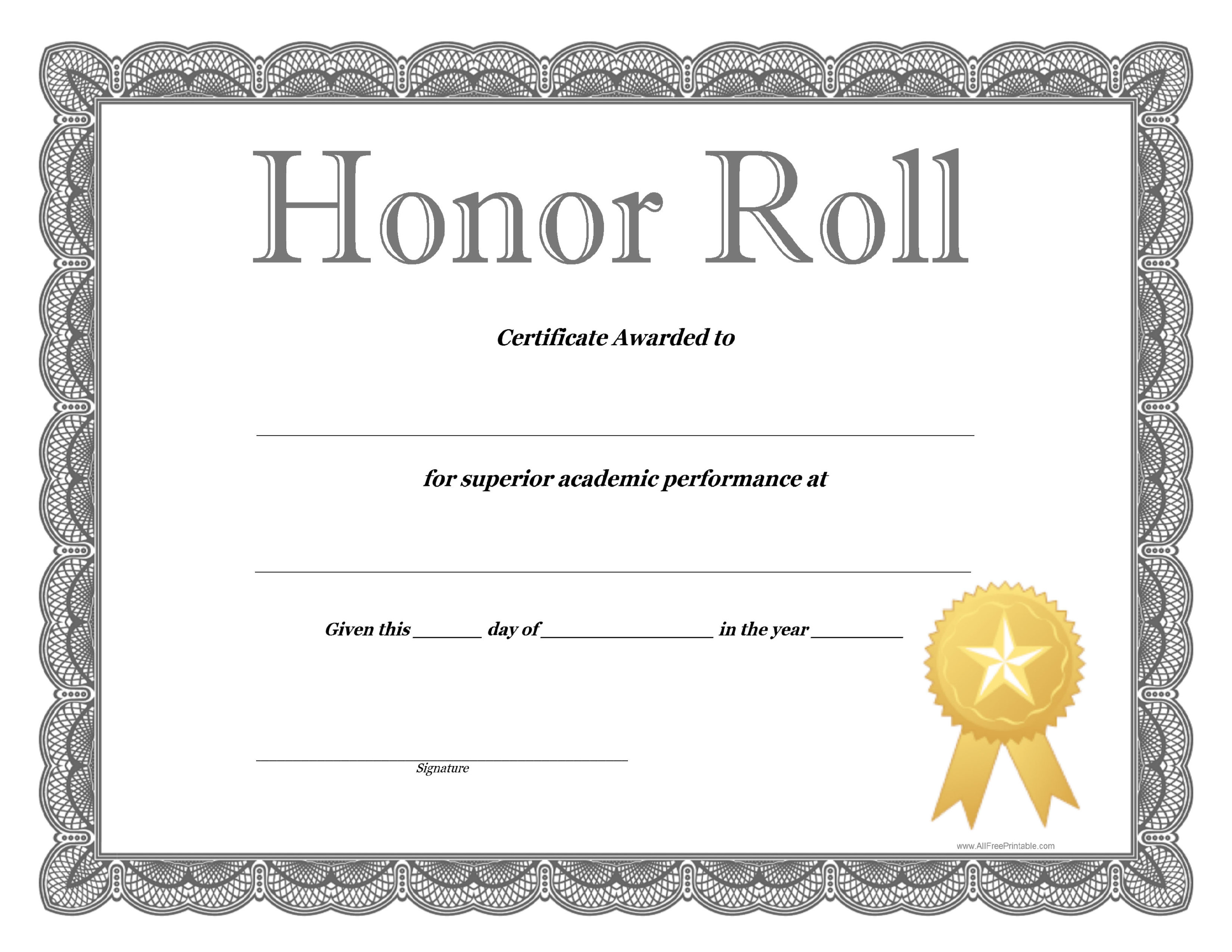 Gold Colored Honor Roll Certificates  Graduation  End Of Year