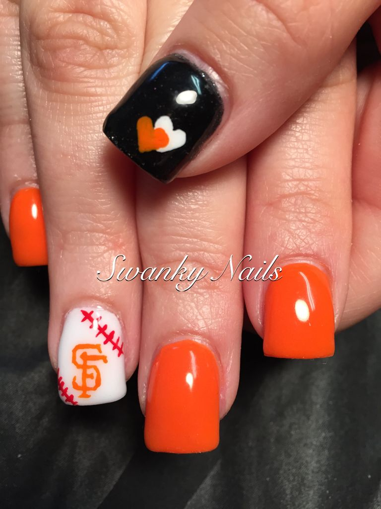 SF Giants nail art https://www.facebook.com/shorthaircutstyles/posts ...