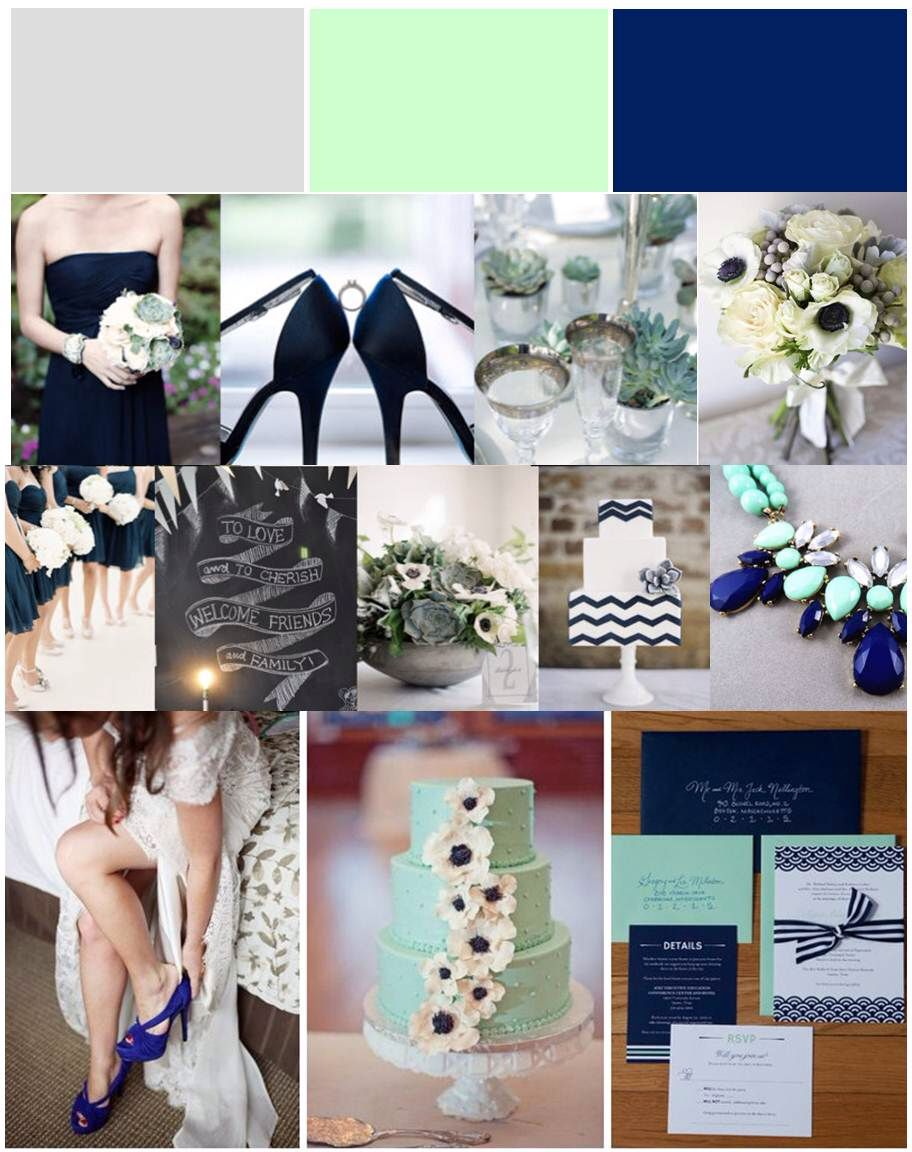 Mint, Gray, Navy Wedding Color Scheme. Rose gold instead of that sea green