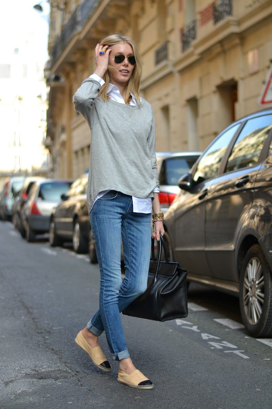 Jeans   white shirt   grey sweater | white shirt | Pinterest ...