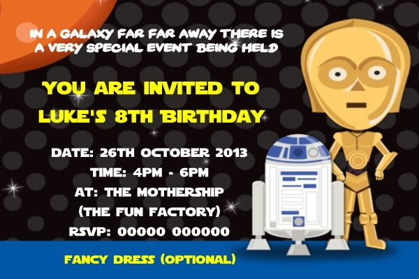 Download Now Star Wars Birthday Party Invitations Download this - birthday invitations free download