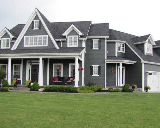 Dark Gray House With White Trim | House / Dark gray siding and ...