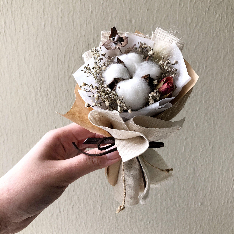 Mini Dried Cotton Flower Bouquet Kraft Linen Rangkaian Bunga Bunga Kering Ide