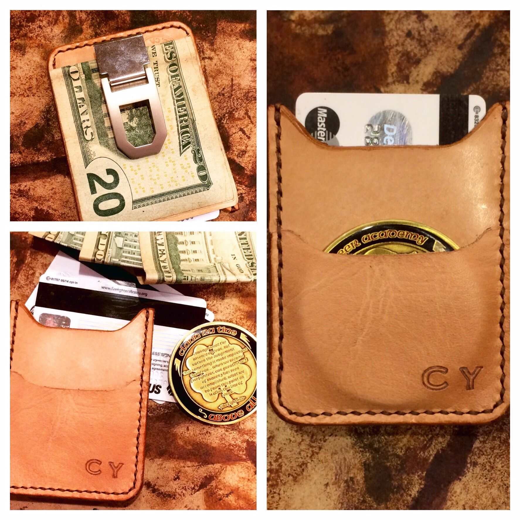 Slim line leather challenge coin wallet  Never get caught w/out your