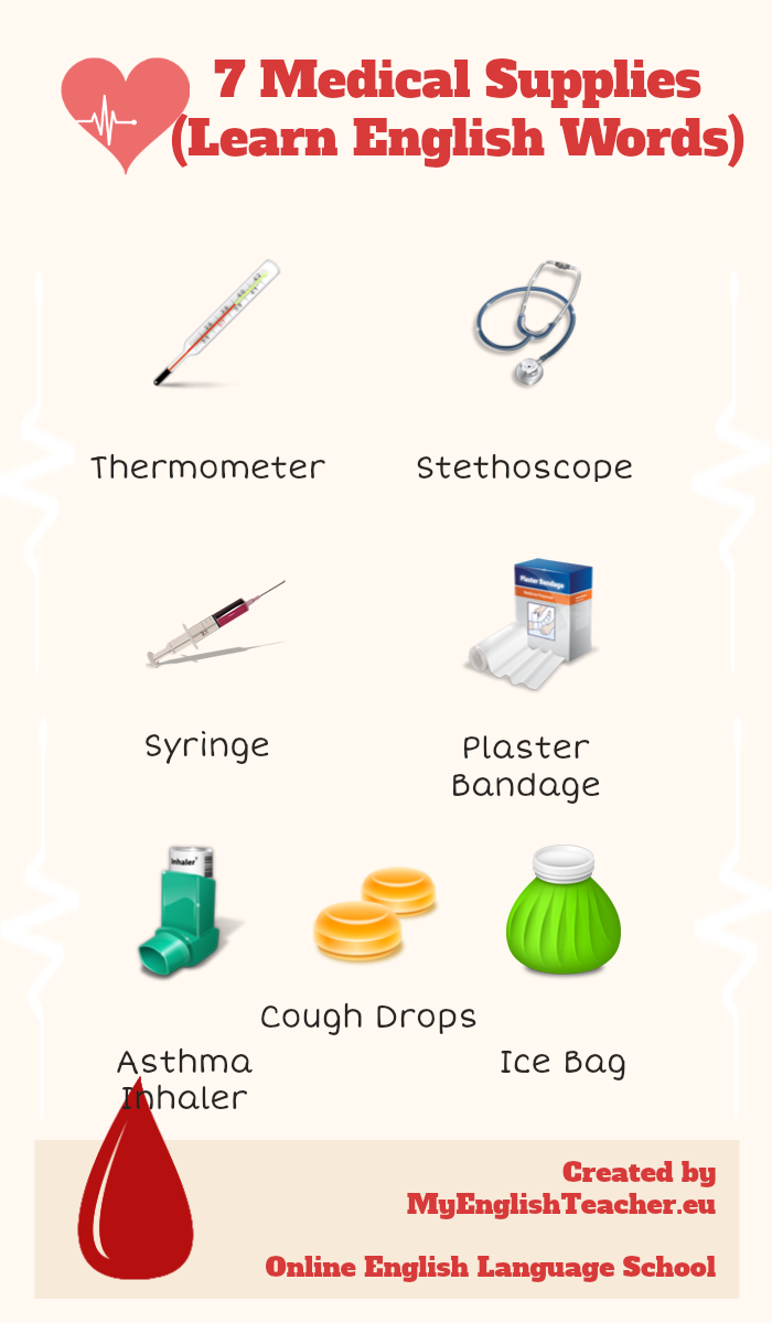 7 Medical Supplies Infographic (Learn English Words) on http://www ...